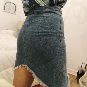 1990's fringe denim skirt a line jean midi